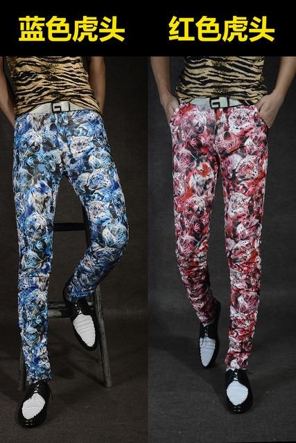 Non-mainstream Slim printing men's pu leather pants pants tide male personality boa Leopard nightclub costumes 120