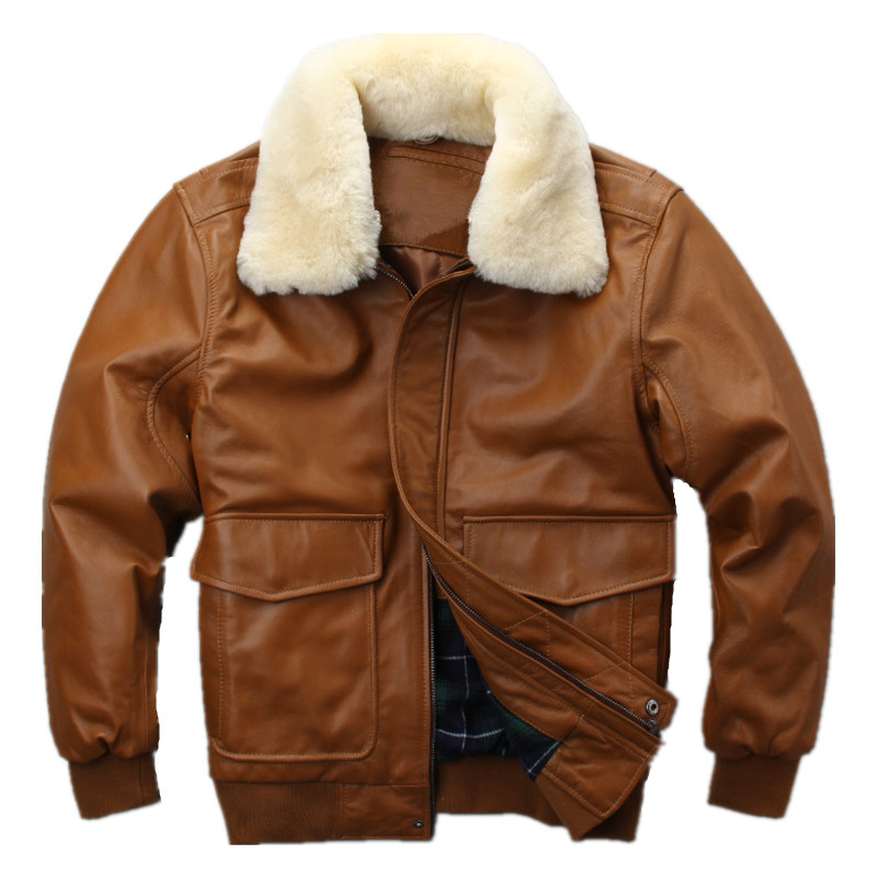 HARLEY DAMSON Yellow Men USAF Pilot Leather Jacket Wool Collar Europe Plus Size XXXL Genuine Sheepskin Military Flight Coat