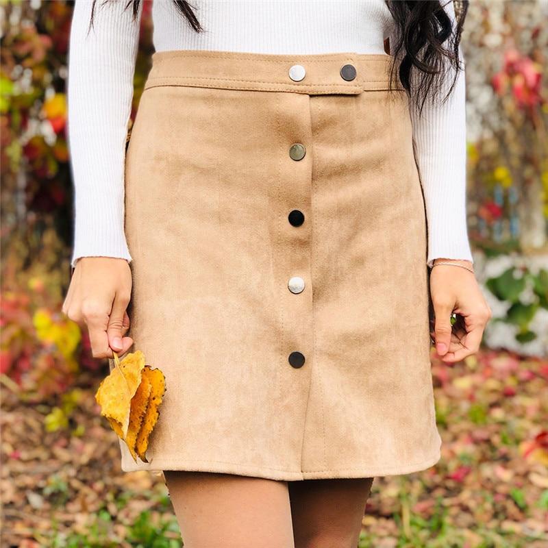 Neophil 19 Winter Women Suede Button Mini Vintage Style A Line Skirts High Waist Black Wrap Ladies Short Skirt Tutu Saia S1001 3