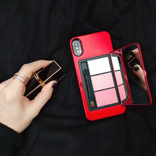 Luxury Makeup Mirror PC+TPU Phone Case For iphone 6 7 8 Plus Back Cover for iphone X XS Case with Eyebrow Pencil Powder for Girl цены