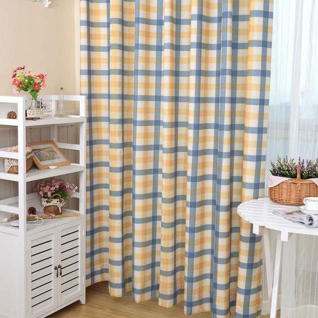 Polyester Printed Curtains Color Pattern Plaid Vertical Blinds Past Style 2colors Yellow And Blue Red
