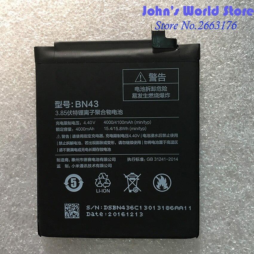 For Xiaomi Redmi Note 4X 4 X 4000/4100mAh BN43 Battery for Xiaomi Redrice Battery Batterie Bateria Accumulator Smart Phone