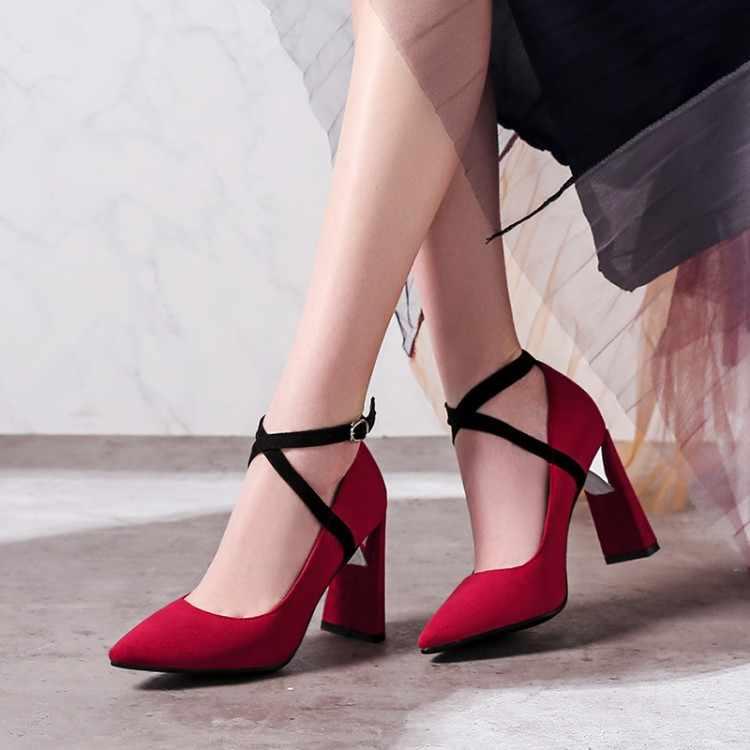 Grande Formato 11 12 13 14 15 delle signore degli alti talloni delle donne scarpe da donna pompe In Pelle Scamosciata a punta tacco di spessore fibbia con superficiale di apertura