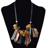 Bohemia Turkey Leather Chain Geometry Resin Fashion Necklaces Pendants Leaf Alloy Statement Choker Long Necklace Women