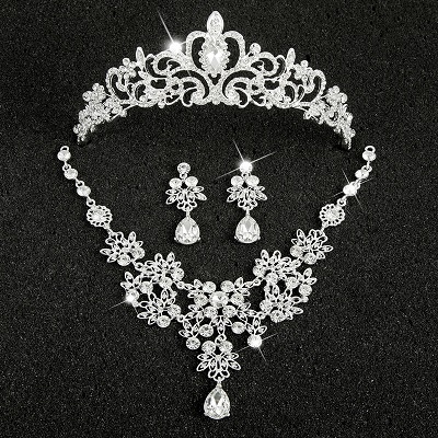 Hot Sale Sliver Plated Rhinestone Crystal Necklace+Earrings+Tiara 3pcs Jewelry Set For Bride Bridal Wedding Accessories (7)