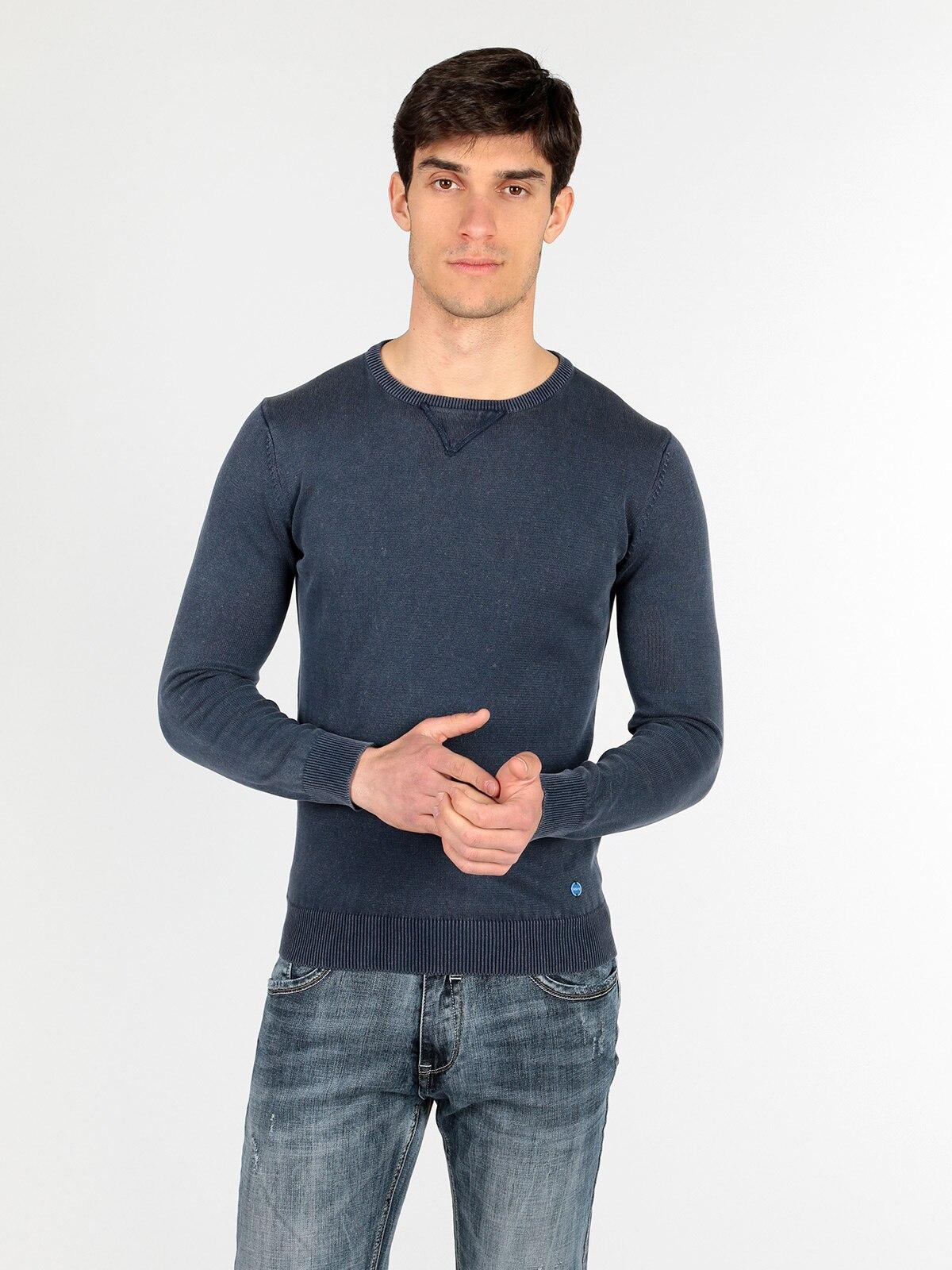 Round Neck Pullover Vest-Blue