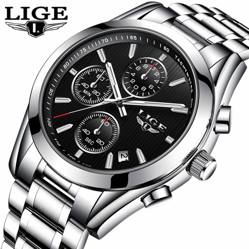 LIGE Mens Watches Top Brand Luxury Full Steel Business Clock Quartz Watch Men Casual Waterproof Sports