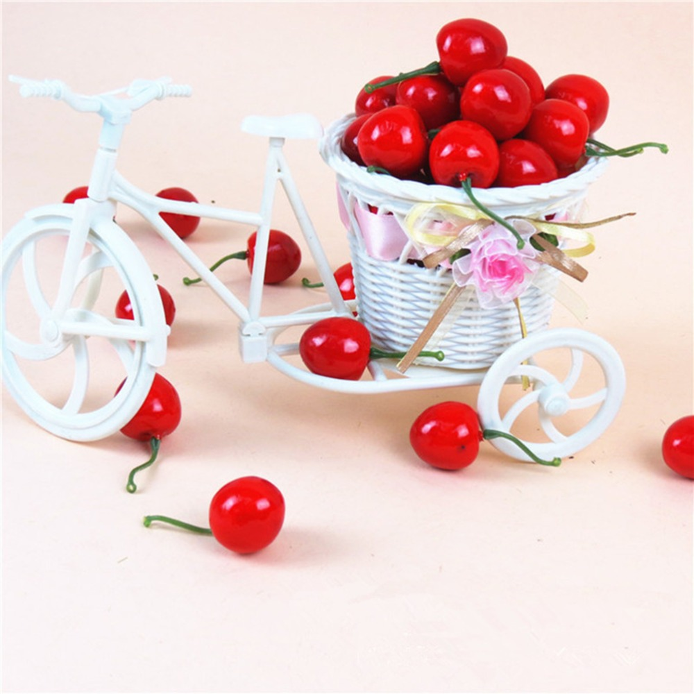 2.5cm 20Pcs/lot Funny Mini Fake Plastic Fruit Small Berries Artificial Flower Red Cherry For Kids Kitchen Toys