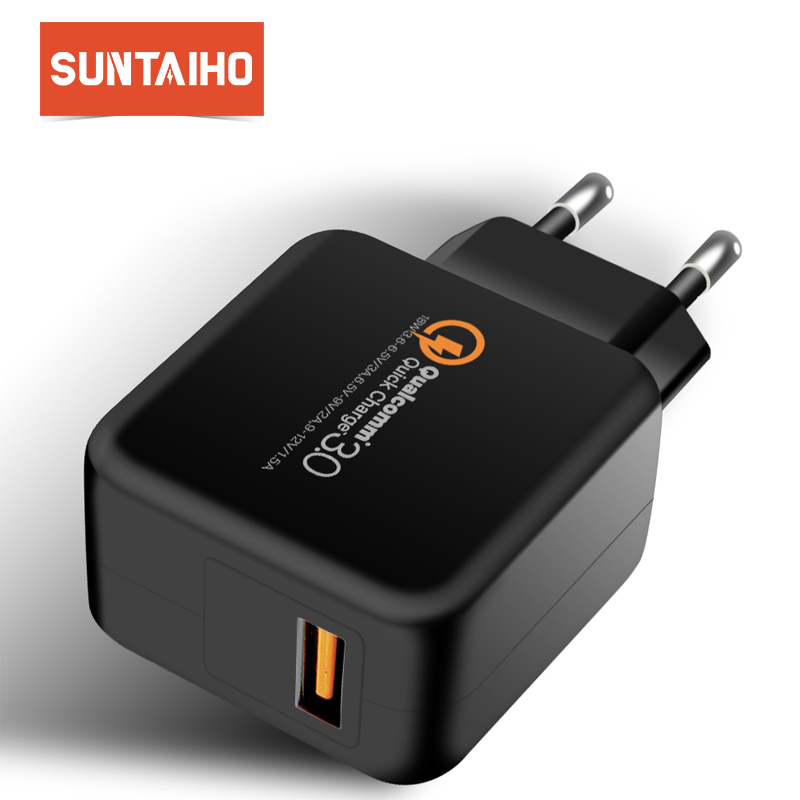 Suntaiho Travel Wall Charger Adapter QC 3.0 for iPhone/Samsung/XiaomiUSB Phone Charger Quick Charger Fast USB Charger quick charger qc 3 0 fast charger dual usb with output 5v 3a universal usb car mobile phone charger adaptor smartphone v20qc3