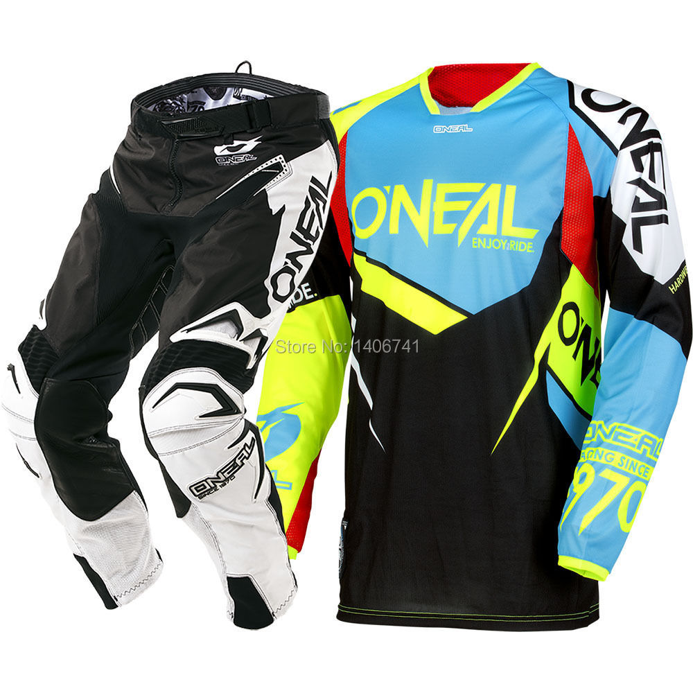 Free shipping 2018 Oneal MX Hardwear Flow-True Blue Hi-Viz Jersey Pants Motocross Gear Combo ATV MTB DH Off-Road Sets смазка hi gear hg 5509
