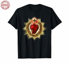 Sacred Heart of Jesus Christ Blessing Art Top Quality Cotton Casual Men T Shirts Free Shipping Design Style New Fashion
