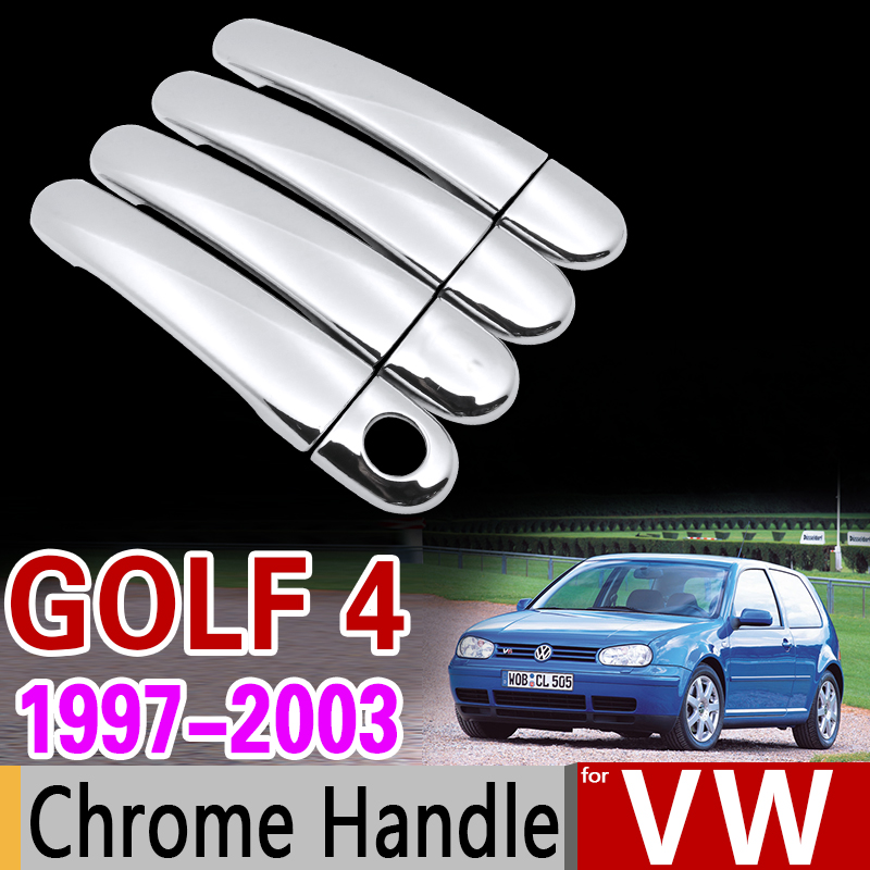 for VW Golf 4 MK4 Chrome Handle Cover Trim Set Volkswagen Rabbit A4 1J 1997 1998 1999 2003 Car Accessories Sticker Car Styling simulation mini golf course display toy set with golf club ball flag