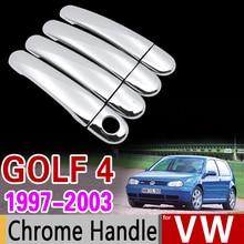 Para VW Golf 4 MK4 Chrome Cubierta de La Manija Conjunto Volkswagen A4 conejo 1J 1997 1998 1999 2003 Accesorios Del Coche Etiqueta Engomada Del Coche Styling