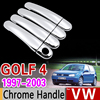 for VW Golf 4 MK4 Chrome Handle Cover Trim Set Volkswagen Rabbit A4 1J 1997 1998 1999 2003 Car Accessories Sticker Car Styling