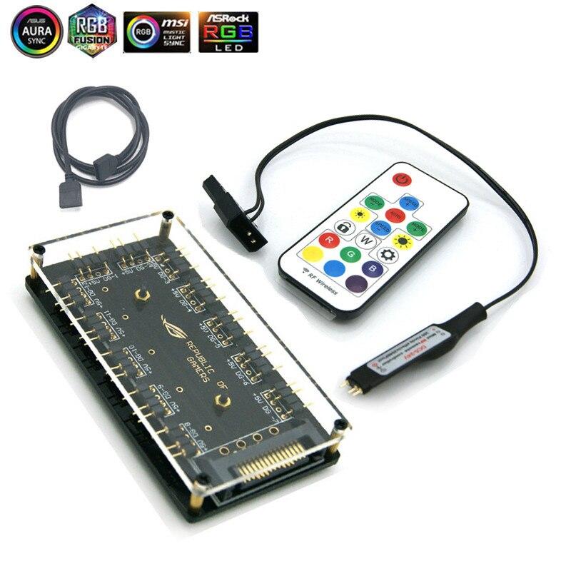ASUS AURA 5V 3 Pin RGB концентратор интерфейс синхронизация сплиттер 3Pin коннектор материнская плата вентилятор волшебный синхронный источник питания - Цвет лезвия: SATAxController