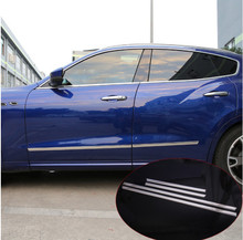 For Maserati Levante 2016 Car-Styling Stainless Steel Door Side Decoration Strips Trim Sticker Accessories Top Quality 4pcs/set new bright silver car styling decoration strips stainless steel car window trim for honda fit