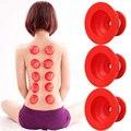 3 pçs/set Ajudante Família Massagem Corporal Anti Celulite Vácuo Cupping Cups Silicone Medical Cupping Chinês vermelho