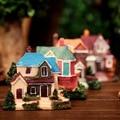 4Stytle Resin mini Classic Villa Retro model resin mini DIY landscape model desk display Home decoration Xmas Gift kids toy
