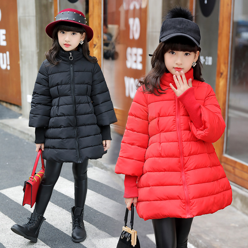 20cd5d568c8 FYH Girls Parka Cotton-padded Winter Solid Color Coat A-line Design  Children Thicken Outerwear Kids Girls Fashion Down Jackets