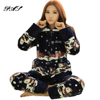Dahl Cool Winter Thick Coral Cashmere Cotton Pajamas Women Long Sleeve To Increase The Size Of