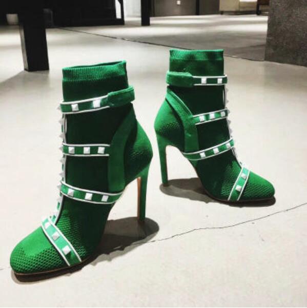 Femenino Botas Tejer Alta 3 Calcetines 1 Sexy Mujeres Botines Telas Mujer Kwok Ch Calidad Corto Bombas Zapatos 2 Prom fOqY4SOzw