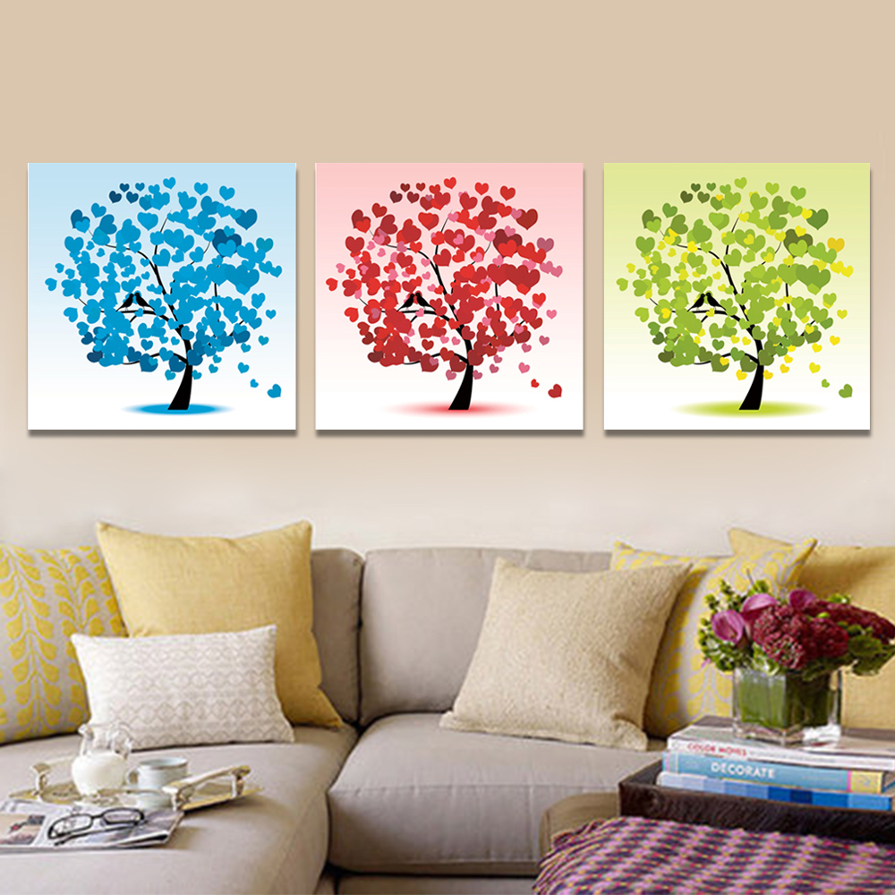 Unframed 3 pairs Abstract Canvas Painting Love Tree Wall Art Decor Prints Wall Pictures For Living Room Wall Art Decoration