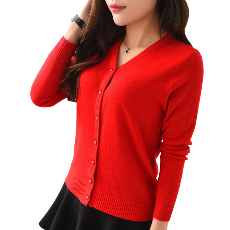 Women Long Sleeve Cardigan V-Neck Red Cardigan Knit Knitwear Casual Crochet Autumn Sweater Long Sleeve Pearl Buckle Slim