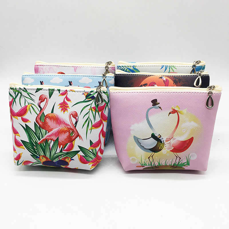 Flamingo Pu Leather Coin Purses Storage Bag Women Small Wallet Ladies Change Purse Child Girl Pink Bird Zipper Pocket