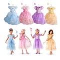 Nueva Summer Kids Girls Vestidos Niños Chicas Rapunzel Cinderella Belle Aurora Princesa Vestidos Niñas de Halloween Navidad Traje