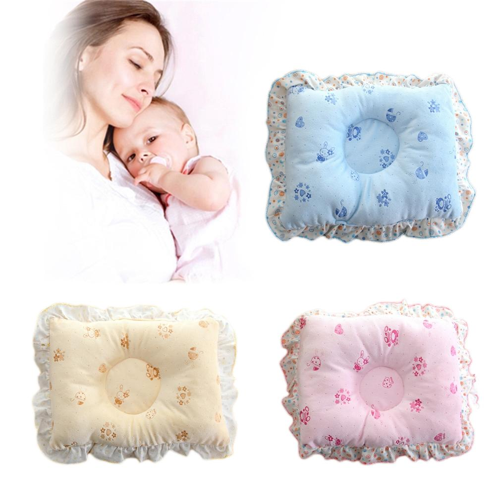 Soft Cotton Lovely Cartoon Newborn Baby Anti Rollover Flat Head Head Positioner Sleep Shaping Pillow With Lace