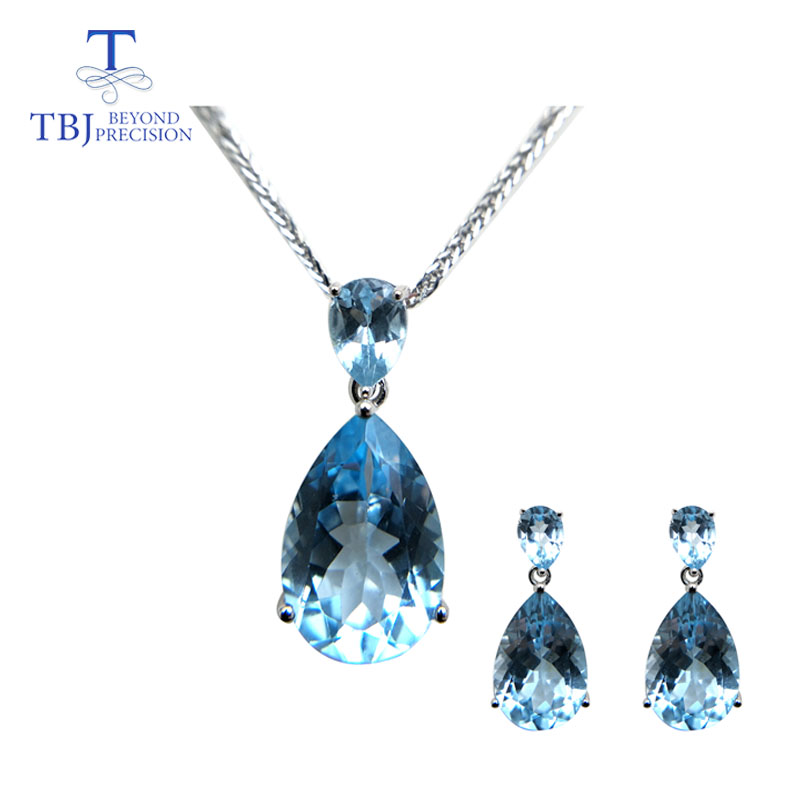 TBJ,natural sky blue topaz gemstone earring and pendant S925 silver big shiny jewelry for women daily party wear gift for wifeTBJ,natural sky blue topaz gemstone earring and pendant S925 silver big shiny jewelry for women daily party wear gift for wife