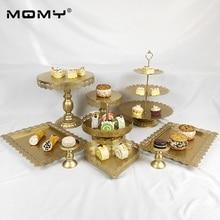 9Pcs / Set Fancy Round Birthday 3 Tier Gold White Pink Metal Wedding Cake Stand