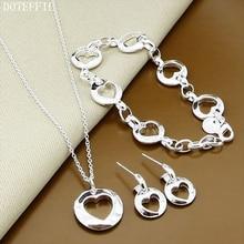 Free Shipping 925 Sterling Silver Charm Necklace Bracelet Earrings Sets Woman Heart Necklace Bracelet Earrings Jewelry