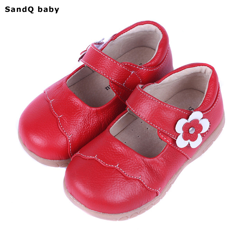 2019 New Spring Äkta Läder Barnskor för Flickor Blomma Kids Casual Sneakers Baby Toddler Shoes Girls Princess Shoes