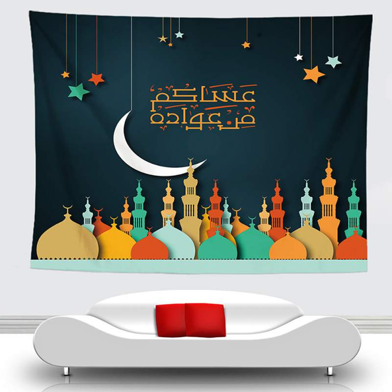 Arabic Islamic Eid al Fitr Style Tapestry Wall Hanging Corridor Decorative Tarpaulin Background Cloth Home Wall Decor|Decorative Tapestries| |  - title=