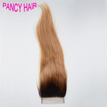 Straight Hair Dark Root Ombre Blonde Lace Top Closure Two Tone Ombre Brazilian Human Virgin Hair Bleached Konts Latest Fashion