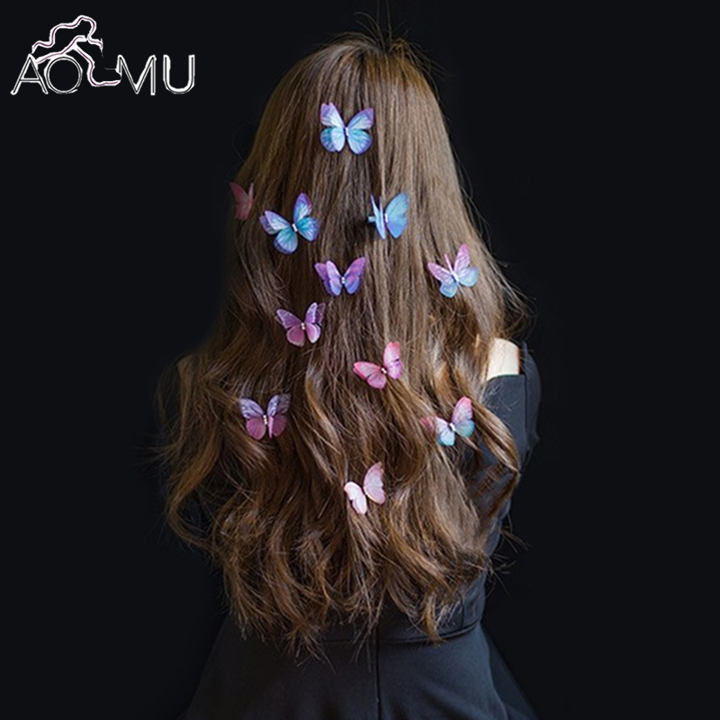 AOMU 2017 New Hair Pins Fashion 1pc 3D Yarn Butterfly Crystal Hair Clips for Women Bridal Wedding Party Hair Accessories pinza 1pcs crystal bowknot hair clips for girls rhinestone decorattion hairpins styling tools barrette braiding accessories hair pins