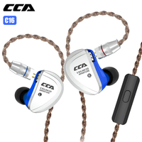 CCA C16 In Ear Earphone with Microphone 3.5mm HIFI Armature Wired Hybrid Sport Earphones Earbuds for Gaming Running