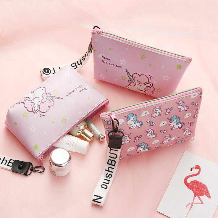 Multifunctional Kawaii PU Leather Unicorn Big Size Pencil Bag For Girls Woman Makeup Storage Bags Kids Pencil Case Stationery