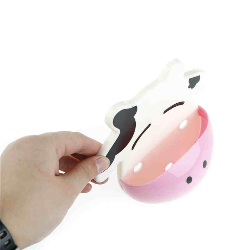 1pc new arrival bathroom products Cartoon cow Kitchen Sundries Holder Bathroom toothbrush Hanger Storage Box