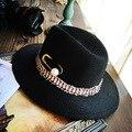 La moda de Nueva Perla Gran Ala de Las Mujeres Sombreros de Paja Con Étnico Pin Sun Beach Panamá Cap [H078]
