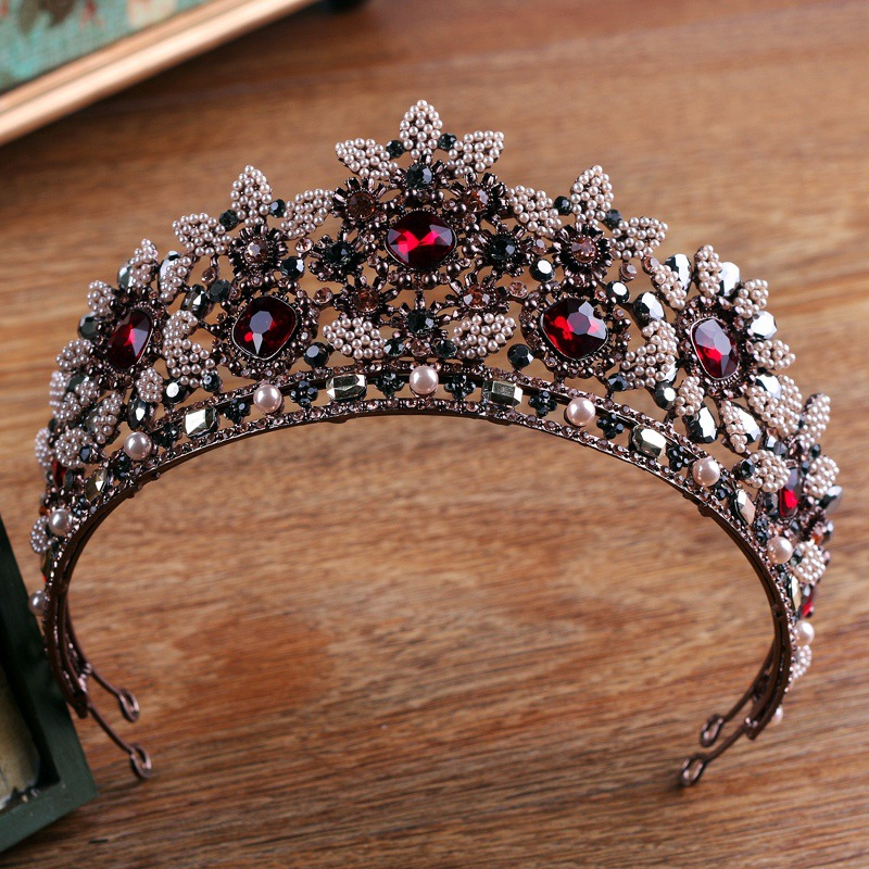 Vintage Baroque Queen King Bride Red Crystal Tiara Crown For Women Headdress Prom Bridal Wedding Hair Jewelry Accessory HQ-59 grivel ледоруб air tech racing sa с темляком long 53