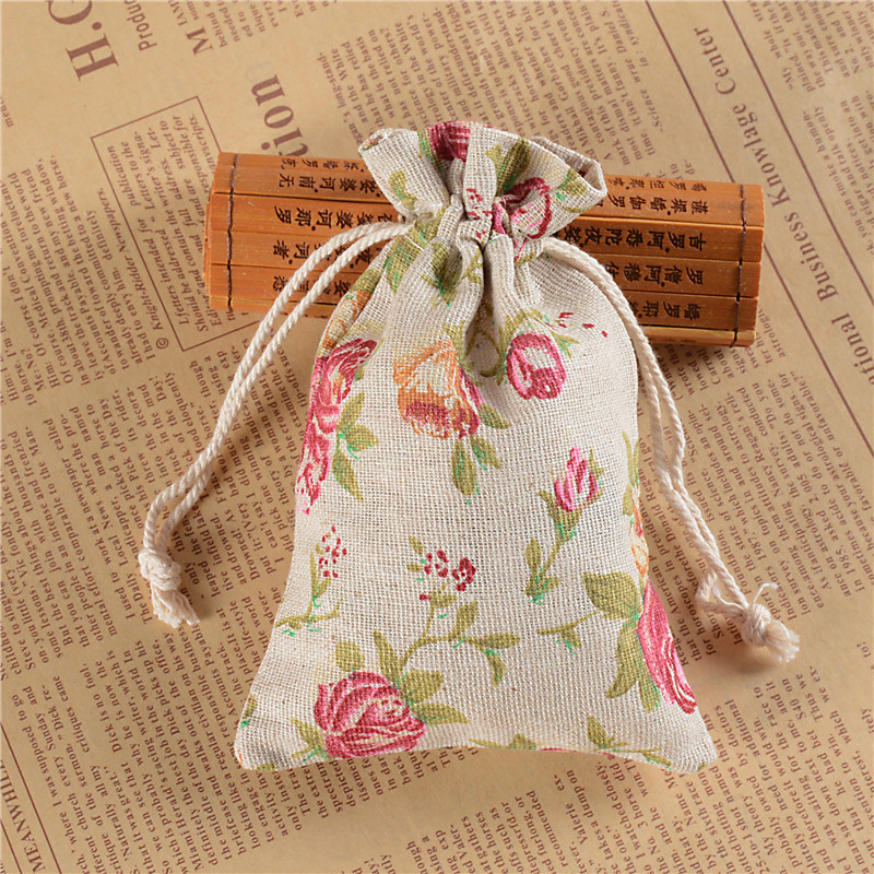 Lanwaylucky Candy Gift Bag For Children Rose Flower Printed Drawstring Cotton Muslin Bags Linen Tea Jewelry Pouch In Packaging Display From