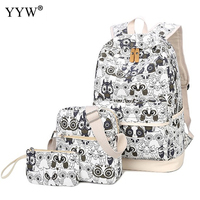 3 PCS Set Unisex Canvas Backpack And Shoulder Clutch Bag Zipper White Owl Backpack Female Softback