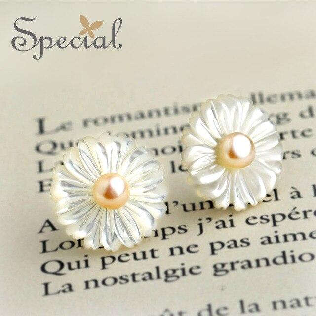 Специальный новинка 925-Sterling-Silver серьги натуральный двойной перл цветок серьги морские раковины подарки для женщин ED151017