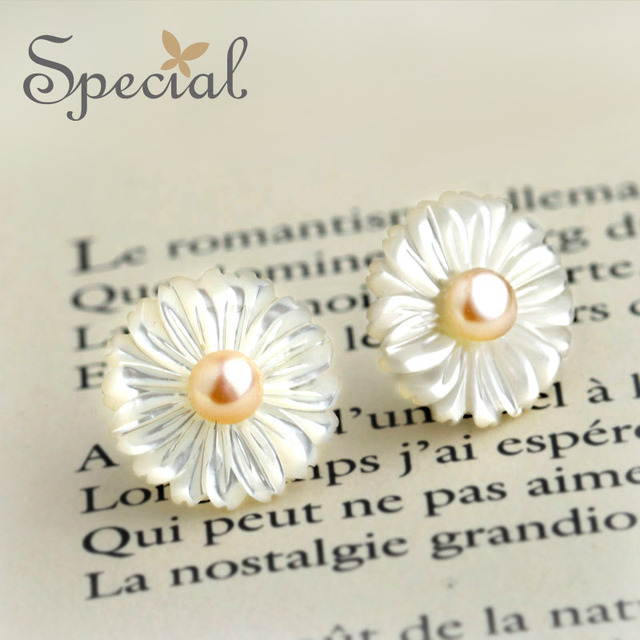Special New Fashion 925-Sterling-Silver Stud Earrings Natural Double Pearl Flower Earrings Sea Shells Gifts for Women ED151017