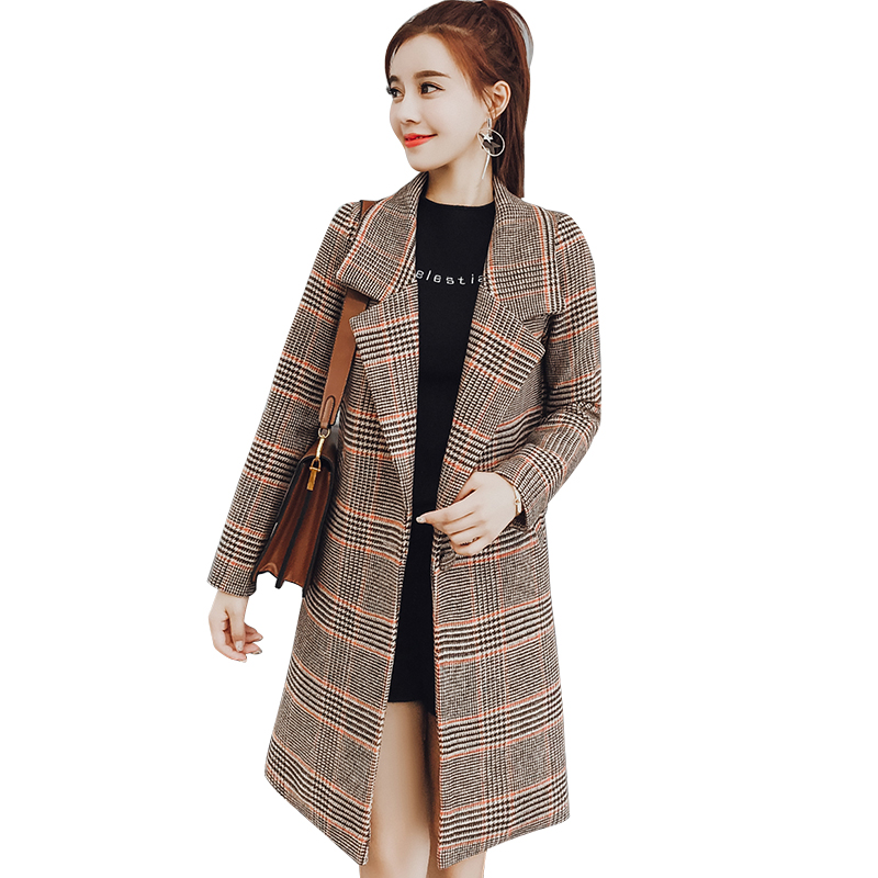 2018 new wool coat women winter autumn plaid warm slim. Black Bedroom Furniture Sets. Home Design Ideas