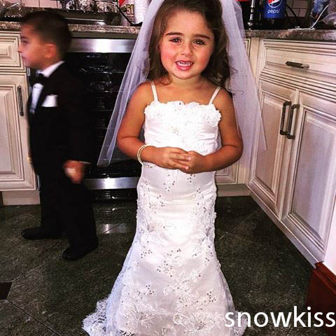 Elegant white/ivory long lace appliques crystals mermaid flower girl dresses for wedding party beautiful first communion gowns elegant flower lace lacut cut wedding invitations set blank ppaer printing invitation cards kit casamento convite pocket