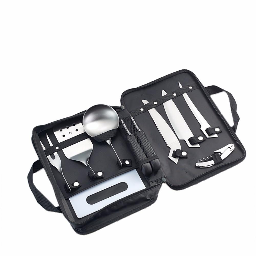 Ustensiles de cuisine de Camping en plein air 8 pièces en acier inoxydable outils de cuisine set de cuisine sac à dos cuisson équipement de barbecue avec mallette de rangement
