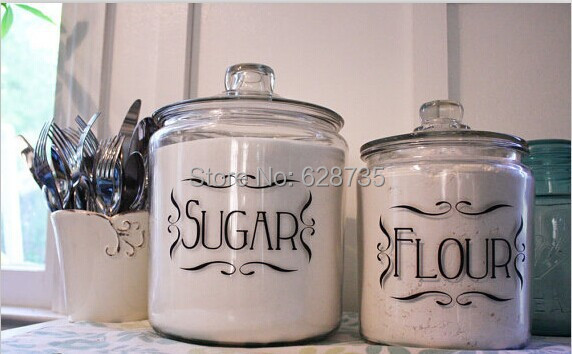 Free Shipping Kitchen Labels Set Of 4 Kitchen Jar Canister Vinyl Tags For Home Organization
